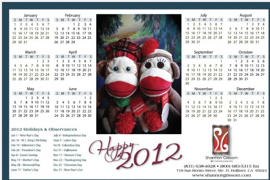 Free 2012 Shannon Grissom Calendar. This is for you sock monkey fans ...