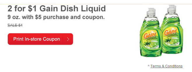 Printable coupon for gain dish detergent